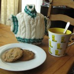 Cricket cosy, tea and biscuits
