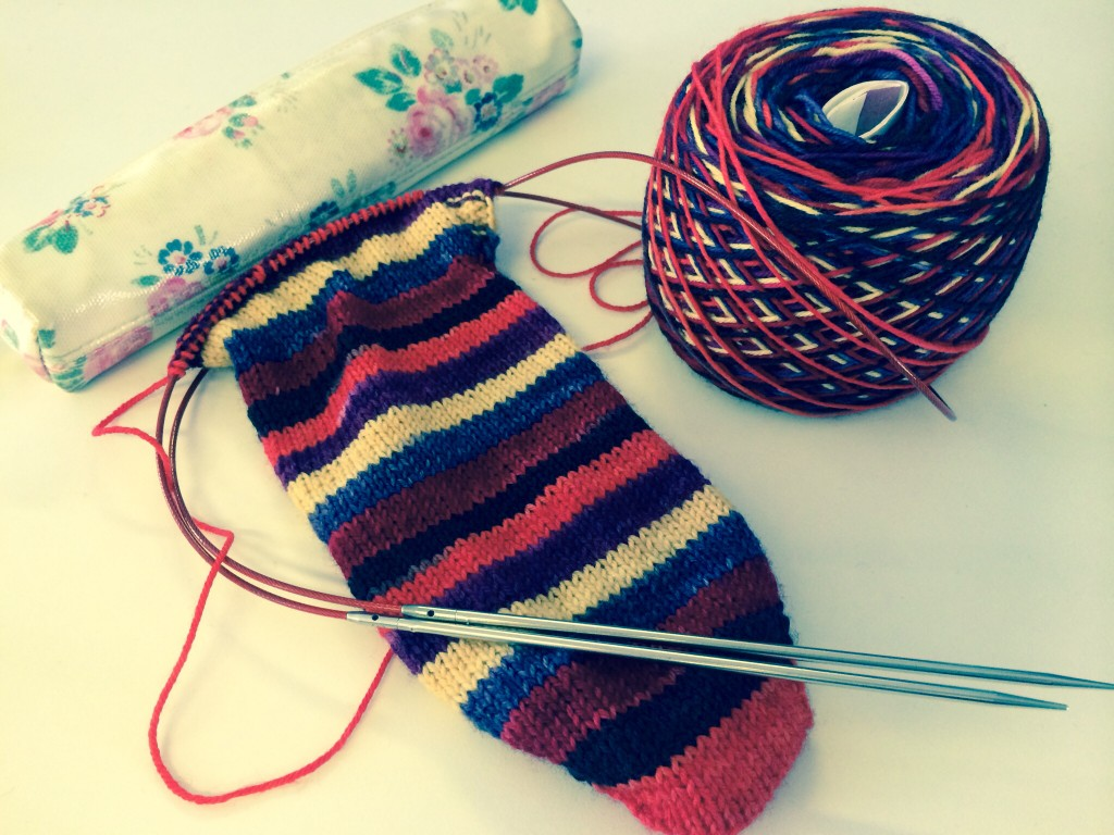 Kate's portable sock knitting