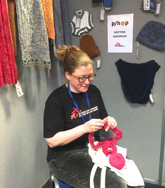 Heather knitting at the p:hop emporium